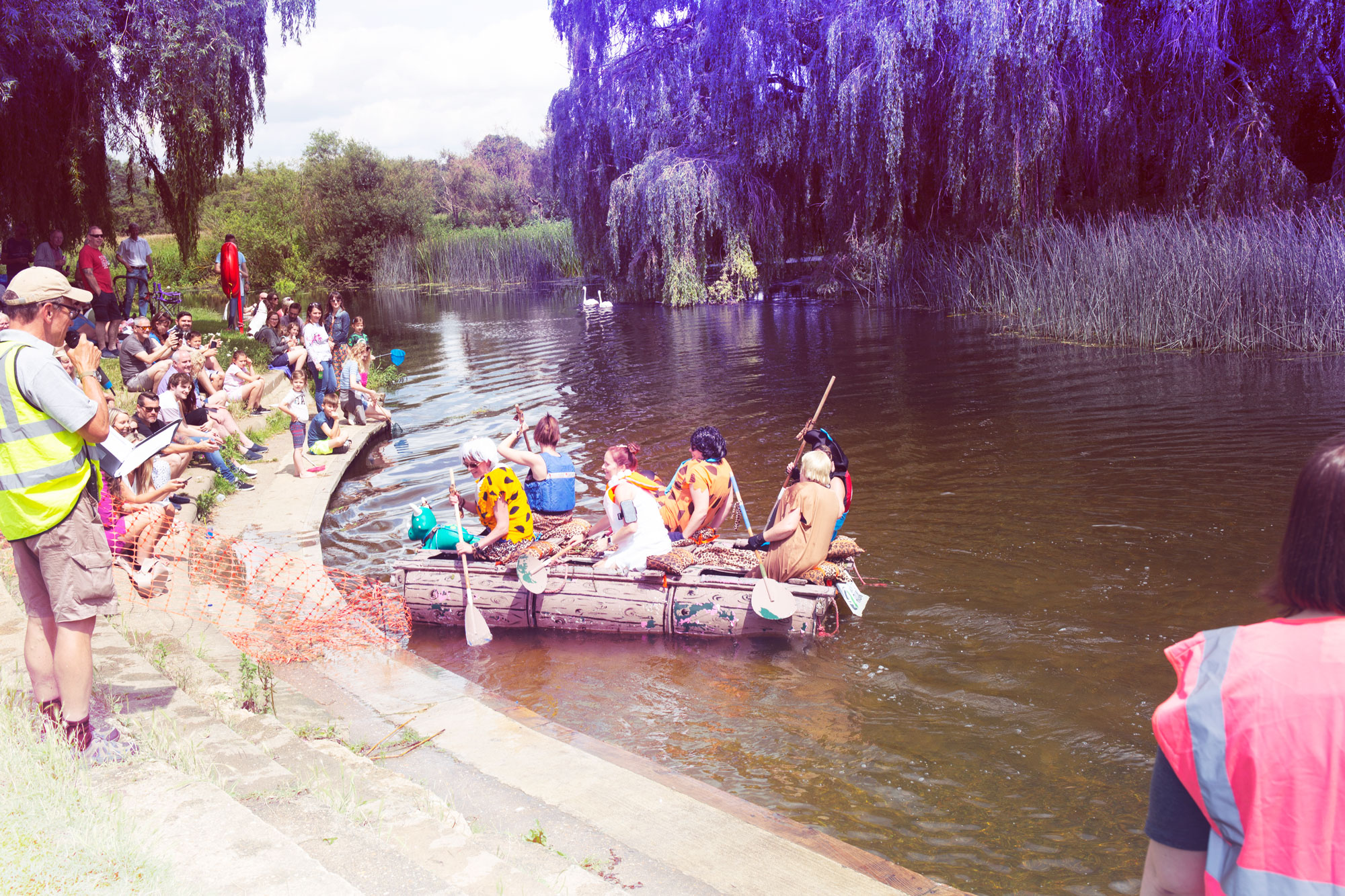 The girls arrive at the Olney Raft Race finish line